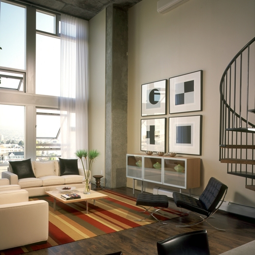 Living room of a condo at the sierra jack london square
