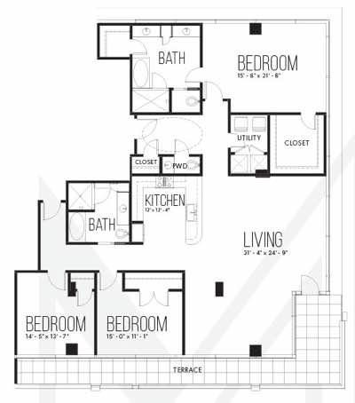 Three bedroom condo