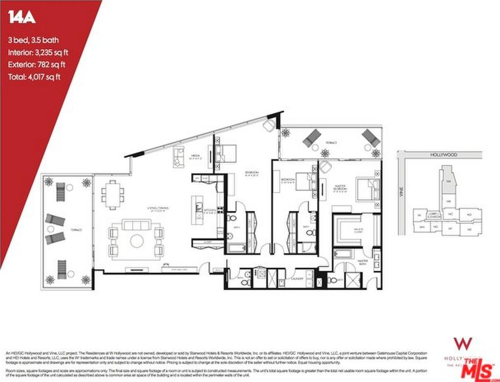 W hollywood residences 6250 hollywood blvd for Floor plans los angeles