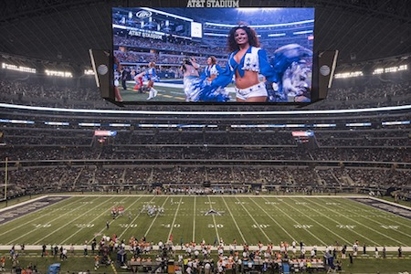 Dallas Cowboys stadium and cheerleaders