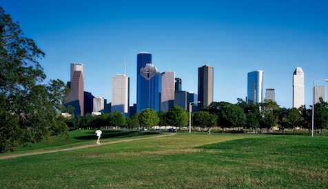 Houston cityscape from the park