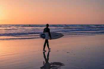 Surfer at San Diego beach